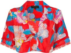 talla floral print tie shirt - Red