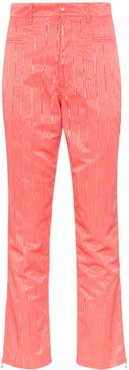 textural-jacquard cropped trousers - PINK