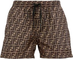 FF motif swim shorts - Brown