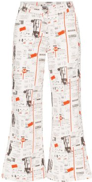 Soni newsprint flared jeans - White