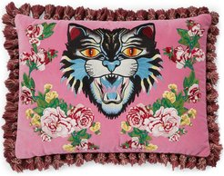 Angry Cat embroidered pillow - PINK