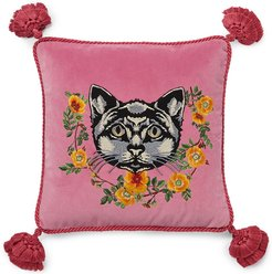 Velvet cushion with cat embroidery - PINK