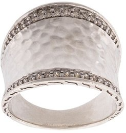 Classic Chain hammered saddle diamond ring - SILVER