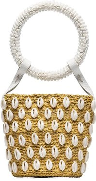 Kaia mini raffia bucket bag - Yellow