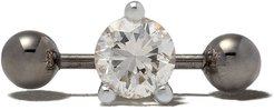 Farfetch Exclusive 18kt white gold Two In One Pierced Diamond stud - WHITE GOLD/SILVER