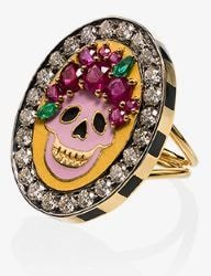 18K yellow gold Skull diamond and ruby ring