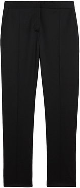 Straight Fit Wool Tailored Trousers - Black