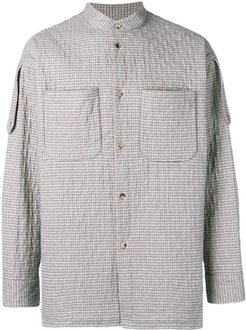 check quilted shirt jacket - PINK