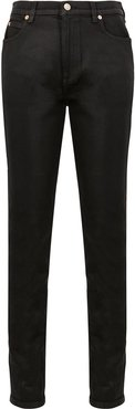 slim leather trousers - Black