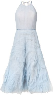textured tulle midi tea dress - Blue