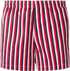 vertical thin stripes swim shorts - Red