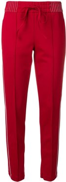 side stripes slim fit trousers - Red