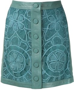 leather lace skirt - Blue