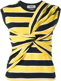striped tied front vest - Yellow