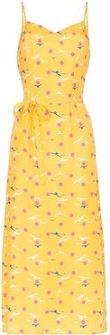 Josephine seagull print midi dress - Yellow
