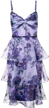 tiered floral dress - PURPLE