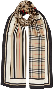 Monogram, Icon Stripe and Check Print Silk Scarf - Neutrals