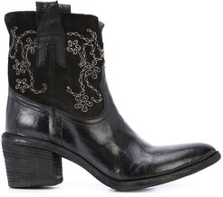 embroidered ankle boots - Black