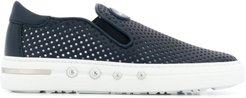 perforated detail slip-on trainers - Blue