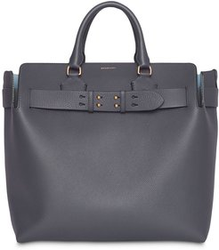 large belted tote - Grey