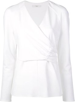 Structured Crepe Shirred Wrap Top - White