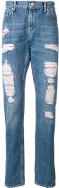 distressed layer jeans - Blue