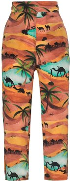 Oasis print cropped trousers - ORANGE