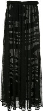 fishnet long skirt - Black
