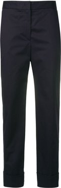 blue cropped trousers