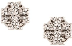 crystal logo stud earrings - SILVER