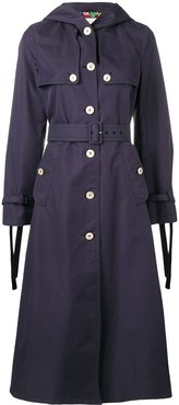 hooded long trench coat - 4755 NAVY