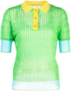 silk panelled polo top - Green
