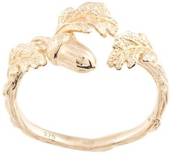 acorn and leaf ring - GOLD