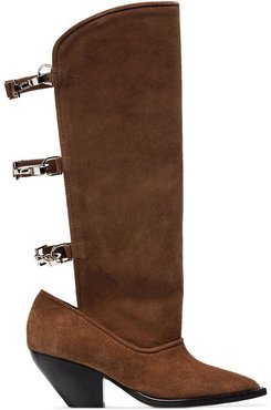 buckle-fastened boots - Brown