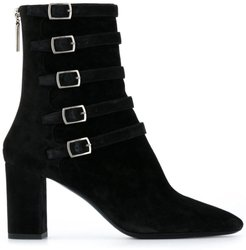 Lou buckle detail ankle boots - Black