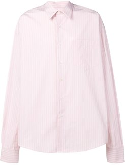 Oversize Long Sleeve Shirt With Chest Pocket - PINK