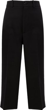 pleated cropped trousers - Black