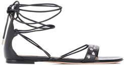 tie-ankle sandals - Black