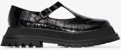 black Aldwych patent leather T-bar shoes