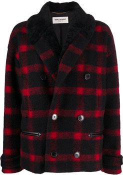 checked double-breasted jacket - Black