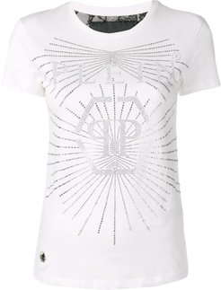 embellished logo T-shirt - White