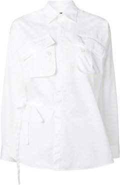 pocketed wrap shirt - White