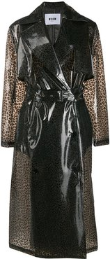 leopard print trench coat - Grey