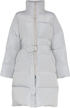 belted mid-length puffer coat - Grey