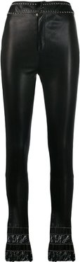leather flare trousers - Black