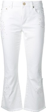 studded kick flare jeans - White