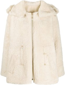 shearling hooded jacket - Neutrals