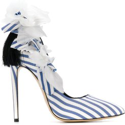 Fleurs striped sandals - Blue
