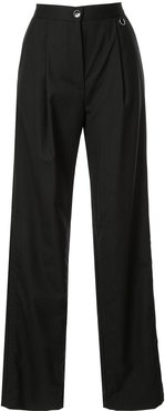 high waisted straight trousers - Black