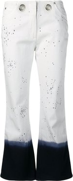 paint splatter cropped jeans - White